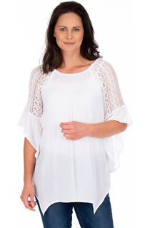 Lace Trimmed Fluted Sleeve Crinkle Top