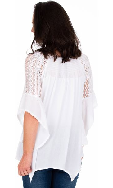 Lace Trimmed Fluted Sleeve Crinkle Top White - Gallery Image 2