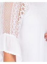 Lace Trimmed Fluted Sleeve Crinkle Top White - Gallery Image 3