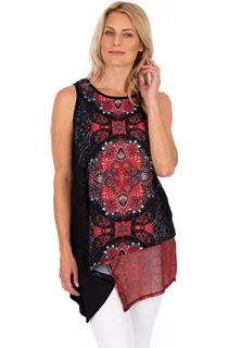Embellished Printed Sleeveless Top