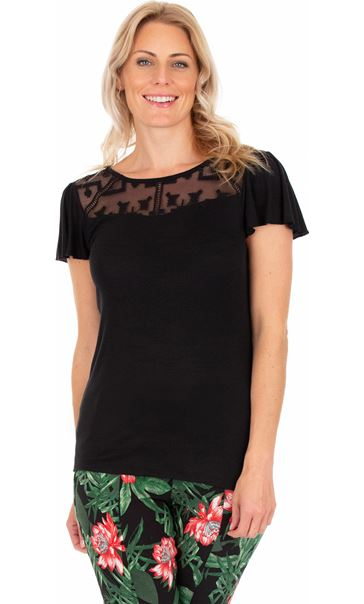 Short Sleeve Lace Trim Jersey Top Black