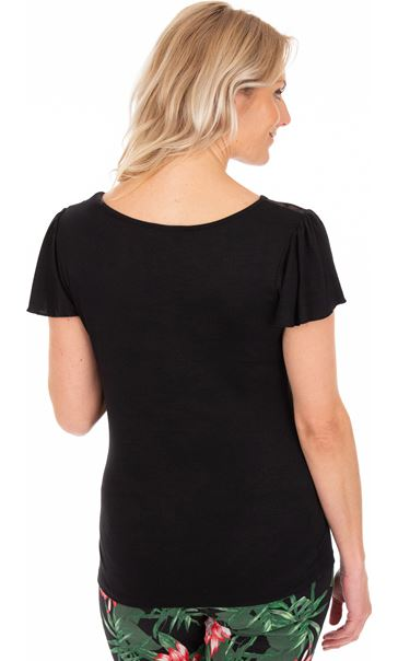 Short Sleeve Lace Trim Jersey Top Black - Gallery Image 2