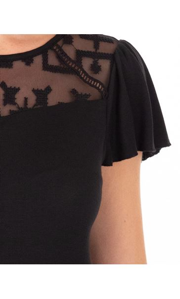 Short Sleeve Lace Trim Jersey Top Black - Gallery Image 3