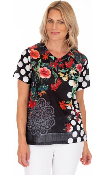 Floral And Spot Printed Short Sleeve Top White/Rouge
