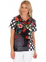 Floral And Spot Printed Short Sleeve Top White/Rouge - Gallery Image 1