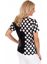 Floral And Spot Printed Short Sleeve Top White/Rouge - Gallery Image 2