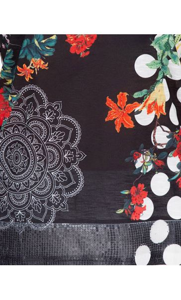 Floral And Spot Printed Short Sleeve Top White/Rouge - Gallery Image 3