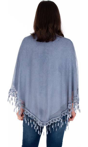 Lace Trimmed Open Cover Up Blue - Gallery Image 2