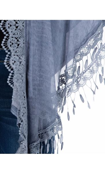 Lace Trimmed Open Cover Up Blue - Gallery Image 3
