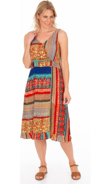 Panel Printed Crinkle V Neck Dress Blue/Orange