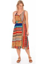 Panel Printed Crinkle V Neck Dress