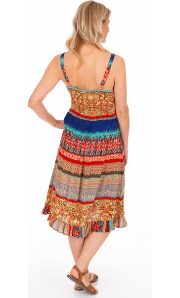 Panel Printed Crinkle V Neck Dress Blue/Orange - Gallery Image 2