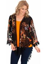 Crochet Trimmed Printed Georgette Cover Up Black - Gallery Image 1