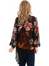 Crochet Trimmed Printed Georgette Cover Up Black - Gallery Image 2