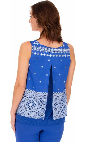 Layered Split Back Top - Cobalt