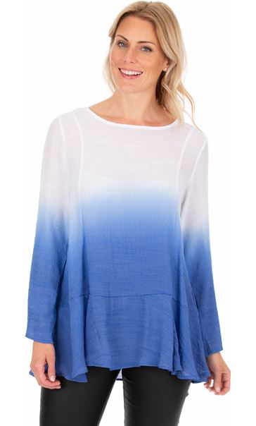 Long Sleeve Ombre Tunic Cobalt/White