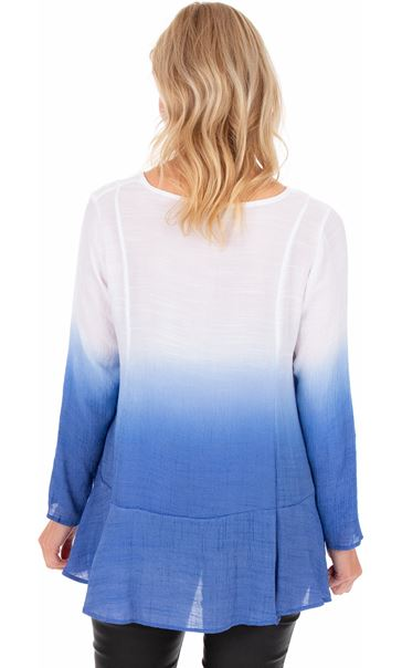 Long Sleeve Ombre Tunic Cobalt/White - Gallery Image 2