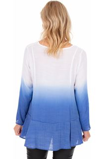Long Sleeve Ombre Tunic - Cobalt/White