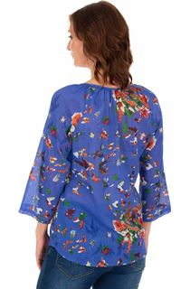 Garden Printed Cotton Turn Sleeve Top