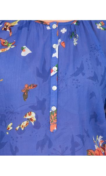 Garden Printed Cotton Turn Sleeve Top Cobalt - Gallery Image 3