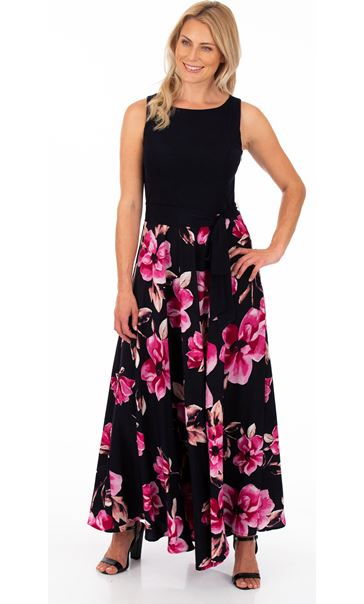 Floral Printed Sleeveless Maxi Dress Midnight/Pink
