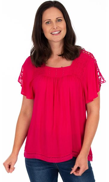 Crochet Trimmed Short Sleeve Crinkle Top Candy