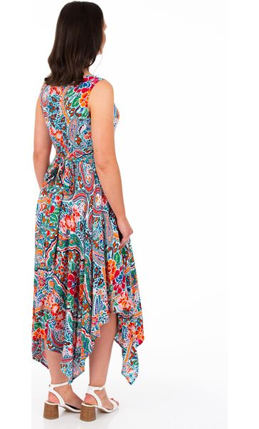 Printed Hanky Hem Maxi Dress