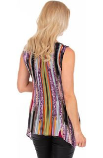 Sleeveless Stripe Print Pleated Tunic