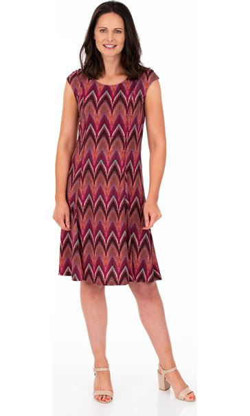 Printed Short Sleeve Jersey Dress