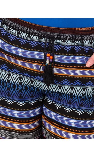 Printed Pull On Shorts Brown/Blue - Gallery Image 3