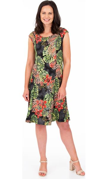 Printed Panelled Jersey Dress Black/Red