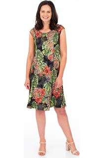 Printed Panelled Jersey Dress