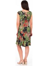 Printed Panelled Jersey Dress Black/Red - Gallery Image 2