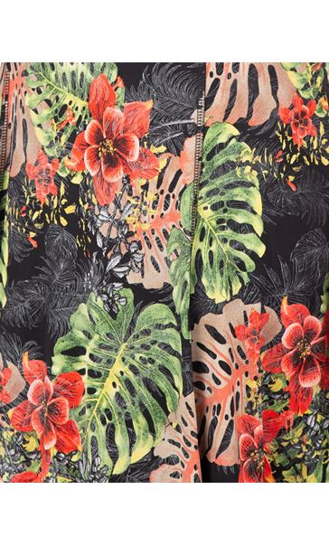 Printed Panelled Jersey Dress Black/Red - Gallery Image 3