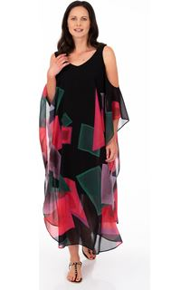 Printed Chiffon Maxi Dress - Black/Candy
