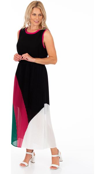 Colour Block Pleated Chiffon Maxi Dress Black/Candy/Green