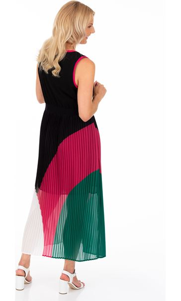 Colour Block Pleated Chiffon Maxi Dress Black/Candy/Green - Gallery Image 2