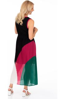 Colour Block Pleated Chiffon Maxi Dress