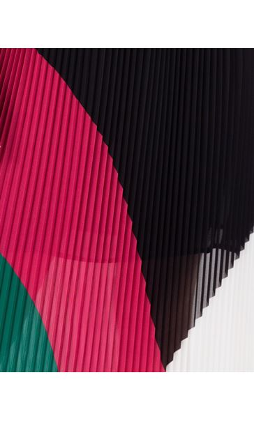 Colour Block Pleated Chiffon Maxi Dress Black/Candy/Green - Gallery Image 3