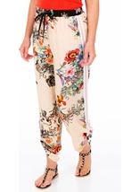 Floral Tie Up Pull On Trousers Black/Peach - Gallery Image 1