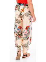 Floral Tie Up Pull On Trousers Black/Peach - Gallery Image 2