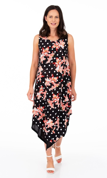 Printed Lightweight Knitted Layer Dress Black/Red