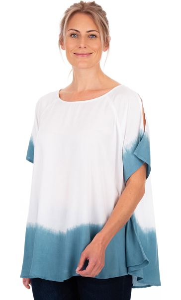 Short Split Sleeve Dip Dye Top Denim/White