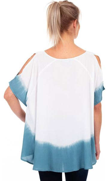Short Split Sleeve Dip Dye Top Denim/White - Gallery Image 2