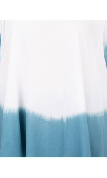 Short Split Sleeve Dip Dye Top Denim/White - Gallery Image 3