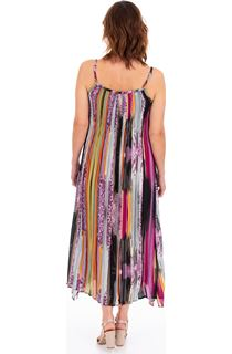 Pleated Stripe Maxi Dress