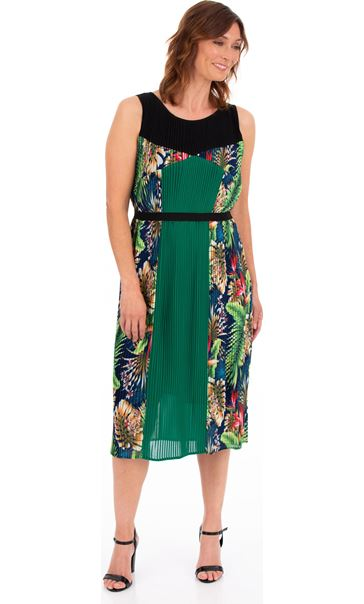 Sleeveless Jungle Print Pleated Midi Dress Green Multi - Gallery Image 1
