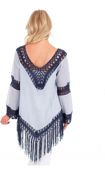 Crochet Trimmed Long Sleeve Stripe Top