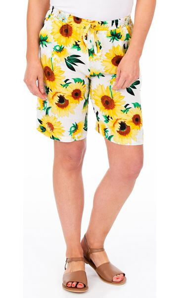 Sunflower Printed Pull On Shorts Yellow/White