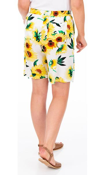 Sunflower Printed Pull On Shorts Yellow/White - Gallery Image 2